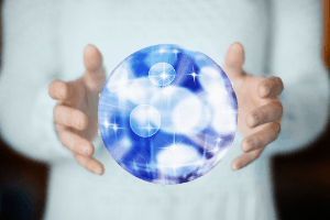 shiny ball in hand