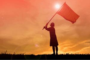Child flying a flag