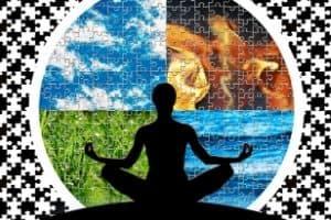 Yoga pose depicting breathing