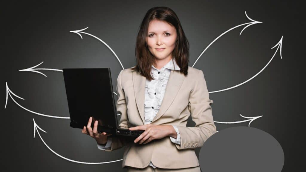 Lady at work with laptop