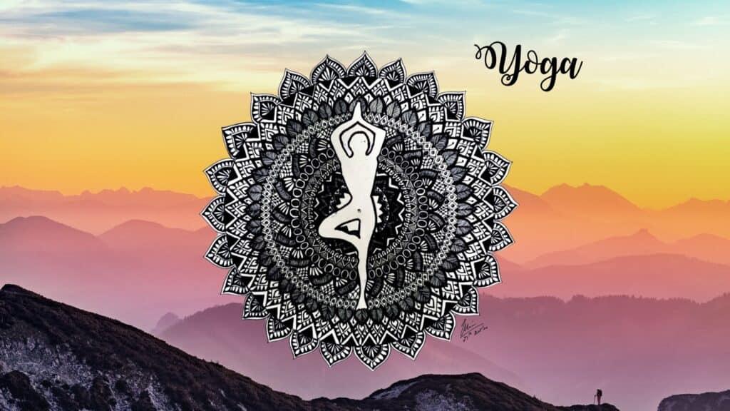 Mandala Art with person doing Yoga
