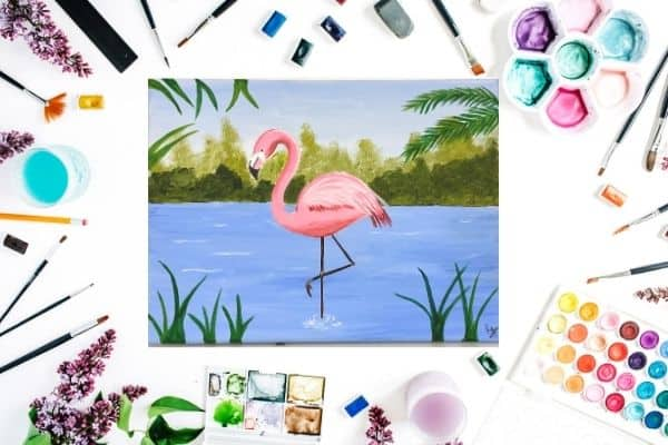 Flamingo on canvas