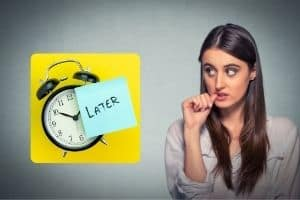 lady looking at a clock