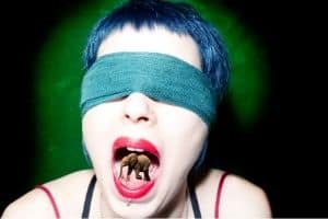 lady blindlof with elephant in her mouth