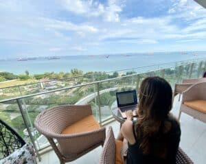 lady working on a computer