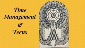 Mandala art depicting a teenager looking at the clock