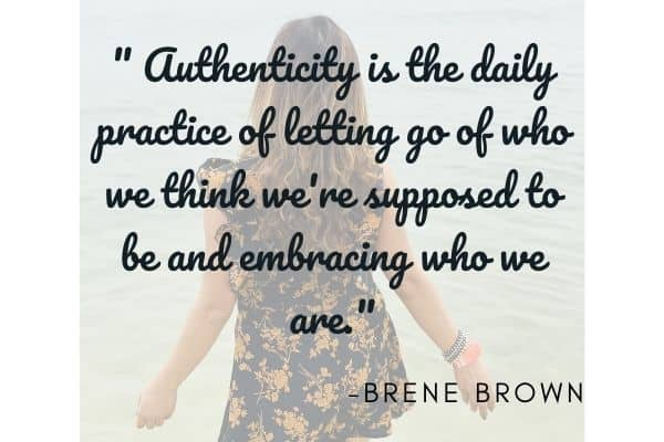 Lady at the beach with authenticity quote