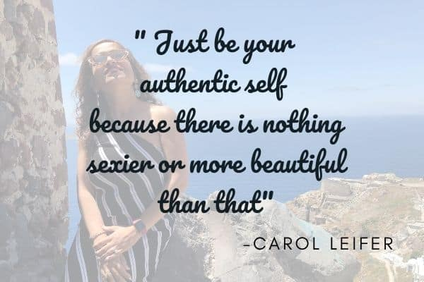 Lady sitting on a cliff with a quote on being authentic self