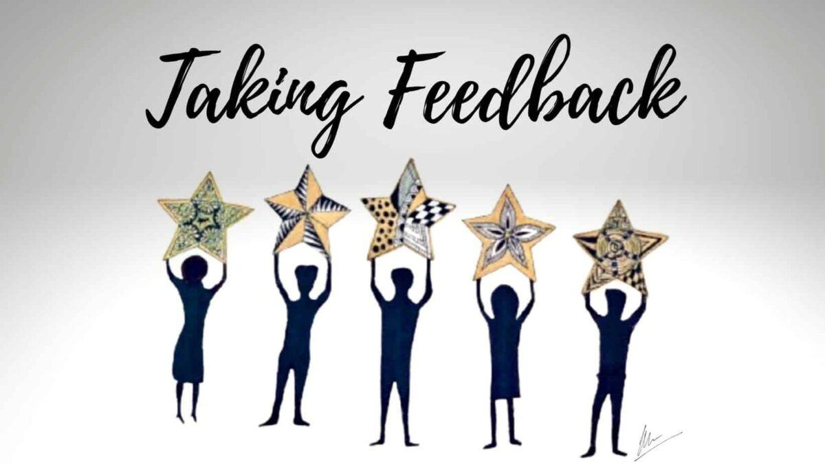 People holding 5 starts for feedback - artwork