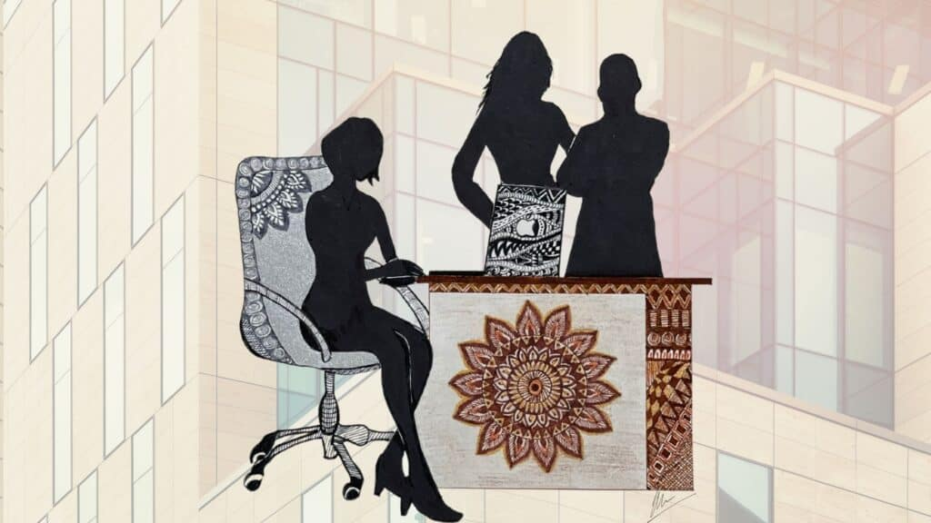 Art work showing Coworkers in office