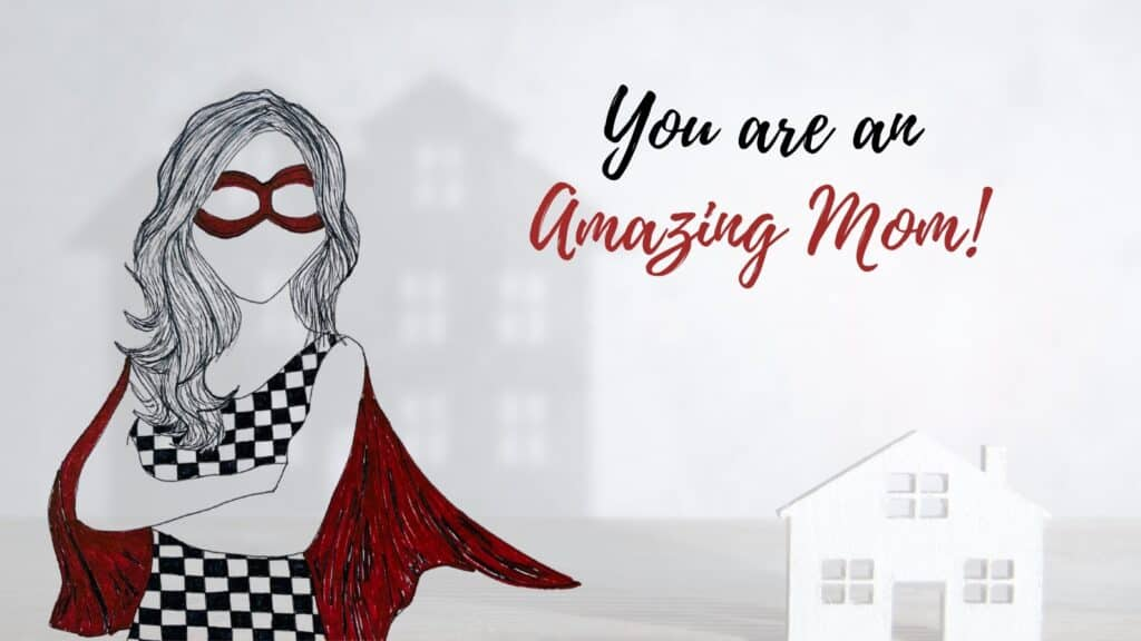 Artwork showing MOM as a super woman