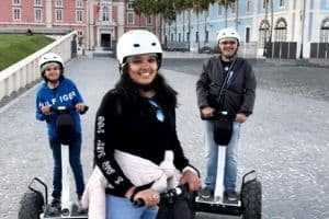 father daughter doing segway