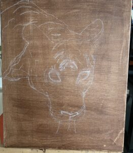 canvas with sketch of tiger
