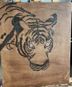 Tiger painting with frame