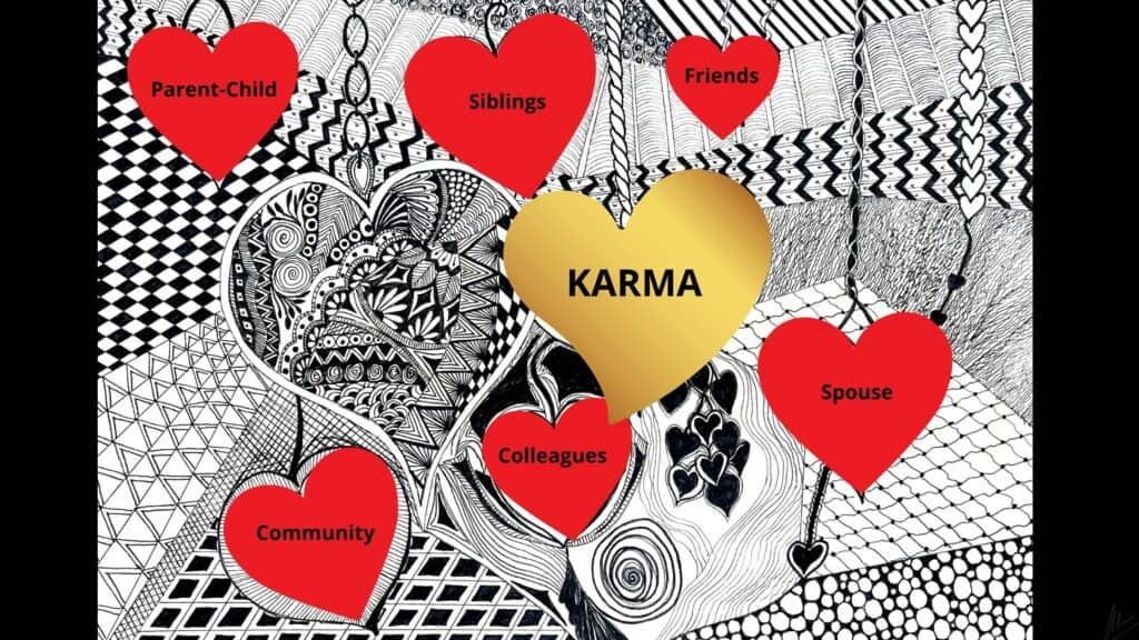 Mandala with heart giving various relationships