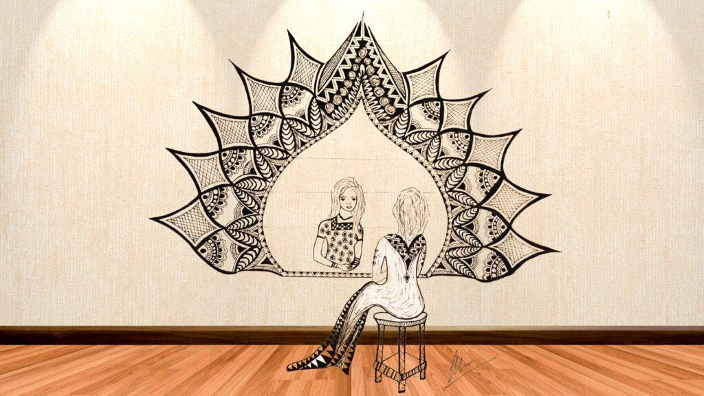 Mandala showing lady looking at her younger self in the mirror