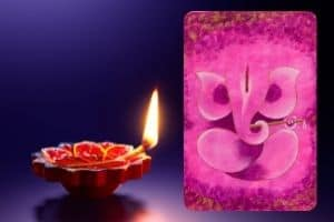 Ganesha painting in pink colour