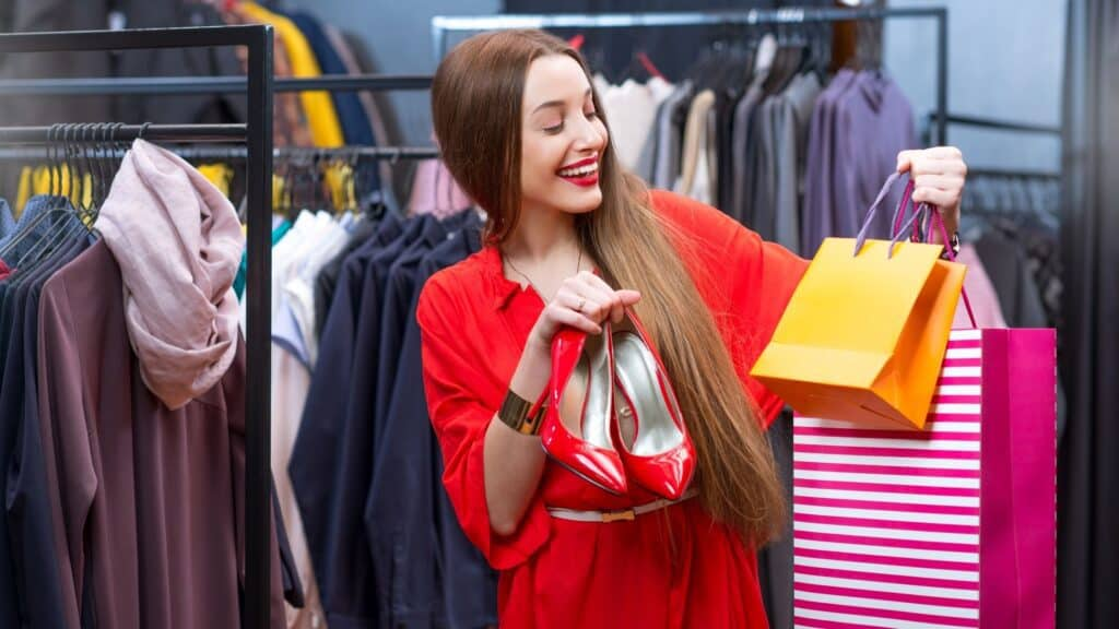 Lady shopping for clothes