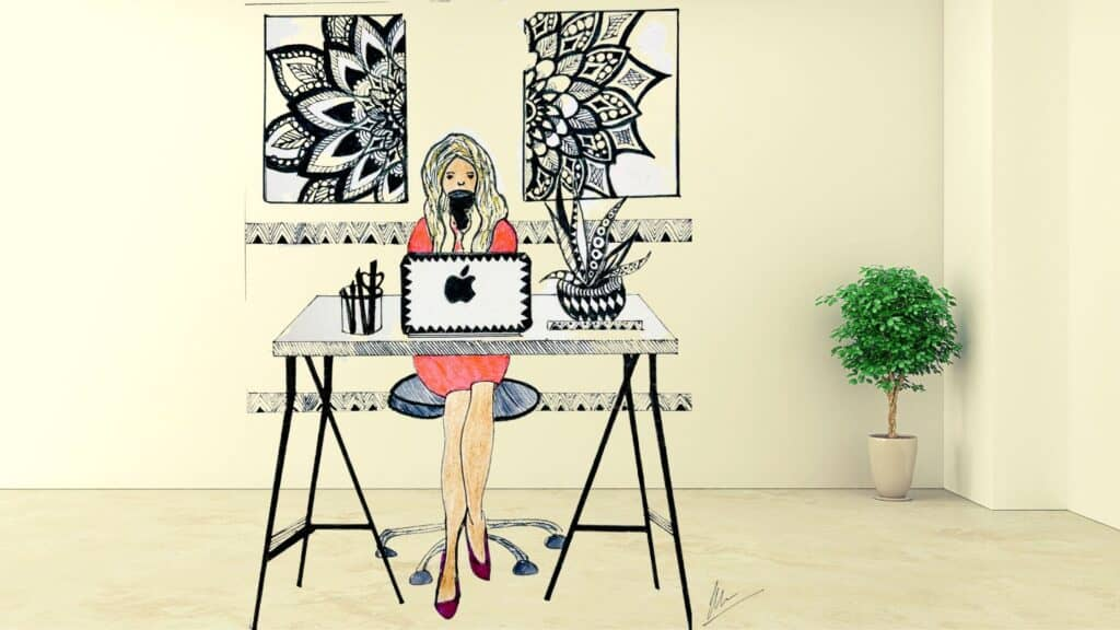 Lady at her workdesk